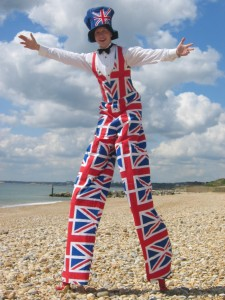 Jules the Entertainer in Union Jack Costume