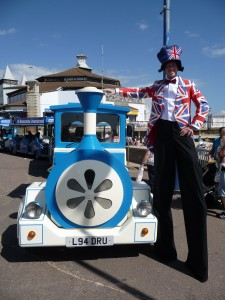 Jules the Entertainer in Union Jack Tux